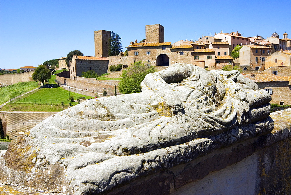 Etrsuscan sarcophagus and view of Tuscania, Tuscania, Viterbo, Lazio, Italy, Europe