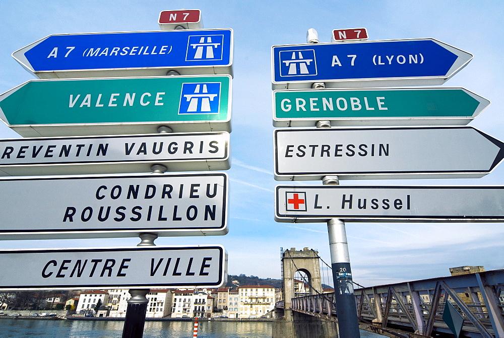 Road sign, Pont de la Passerelle, River Rhone, Vienne, Rhone Valley, France
