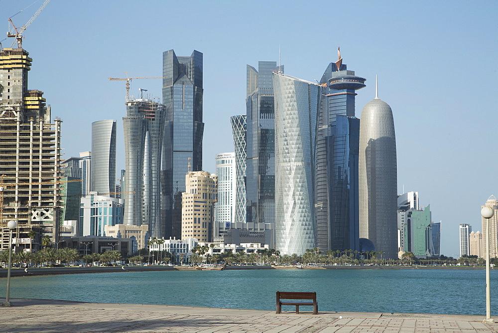 Futuristic skyscrapers on the Doha skyline, Qatar, Middle East