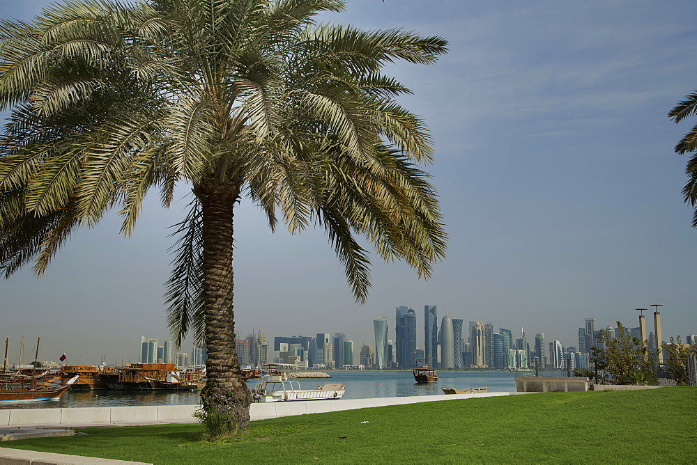 Futuristic skyscrapers on the distant Doha skyline, Qatar, Middle East