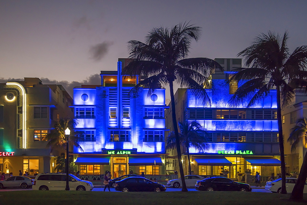 Art Deco District at night, Ocean Drive, South Beach, Miami Beach, Florida, United States of America, North America - 772-3599