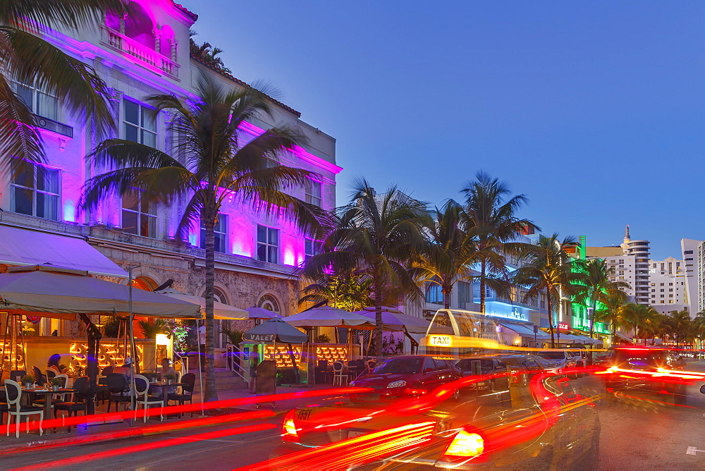 Art Deco District at night, Ocean Drive, South Beach, Miami Beach, Florida, United States of America, North America. - 772-3601