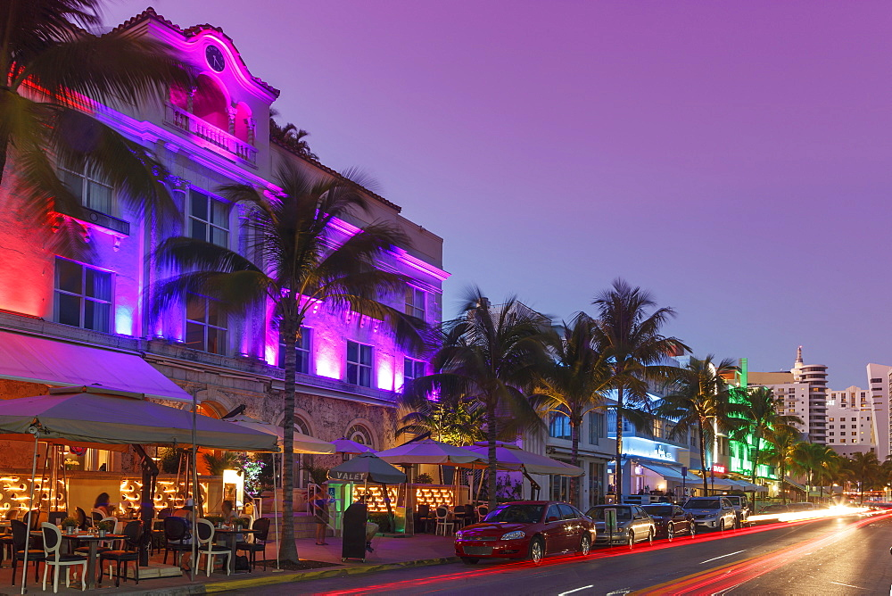 Art Deco District at night, Ocean Drive, South Beach, Miami Beach, Florida, United States of America, North America - 772-3602