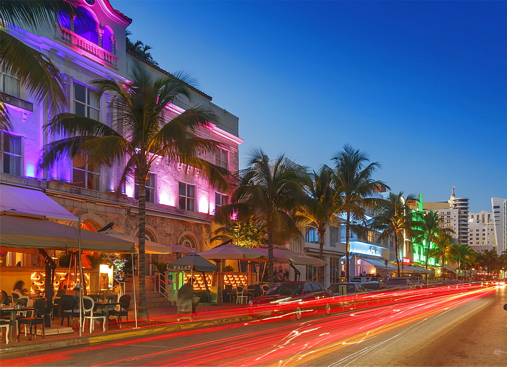 Art Deco District at night, Ocean Drive, South Beach, Miami Beach, Florida, United States of America, North America - 772-3603