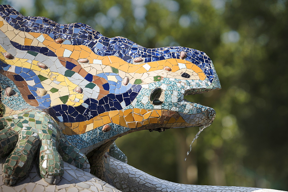 Mosaics, Parc Guell, UNESCO World Heritage Site, Barcelona, Catalonia, Spain, Europe - 772-3702