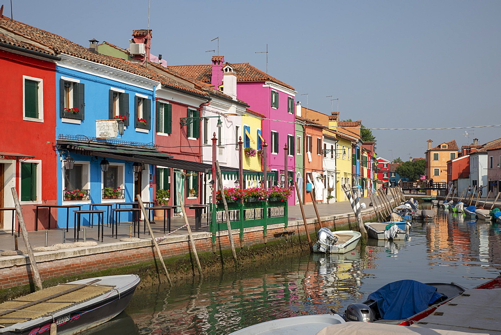 Colorful buildings on canal in Burano, Italy, Europe - 783-148
