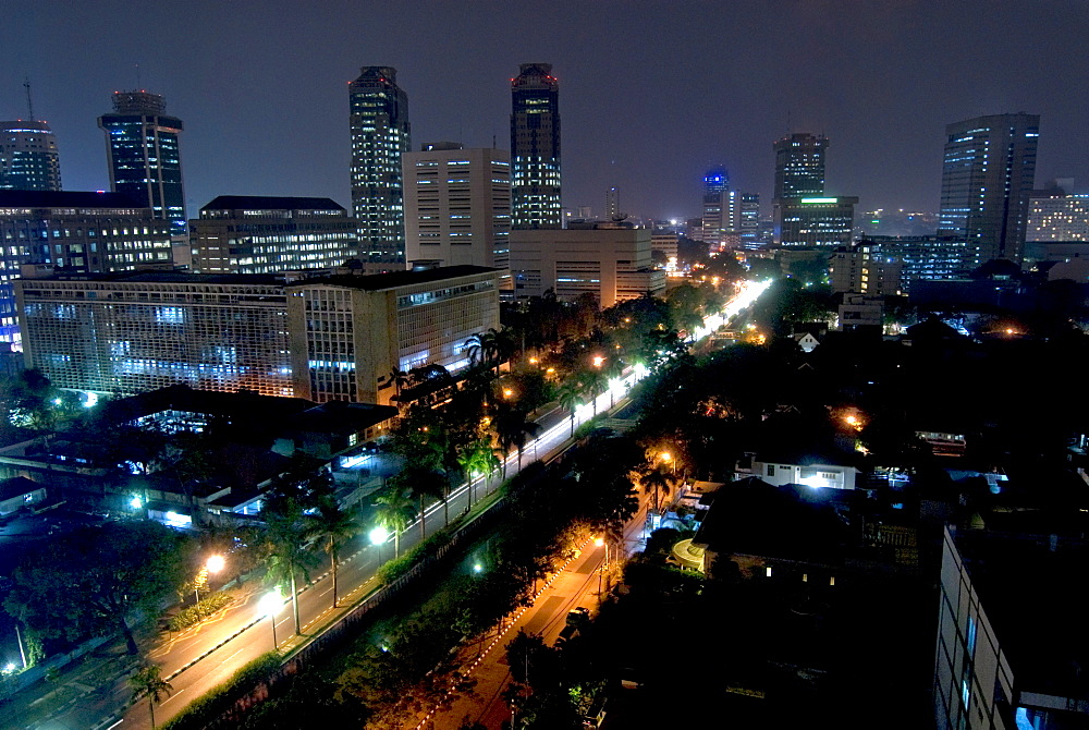 Cityscape at night, Jakarta, Indonesia, Southeast Asia, Asia - 784-223