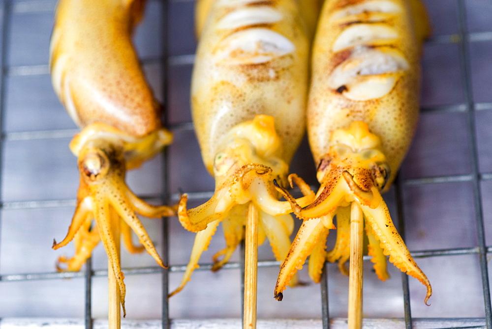 BBQ squid, Chatuchak weekend market, Bangkok, Thailand, Southeast Asia, Asia - 784-229