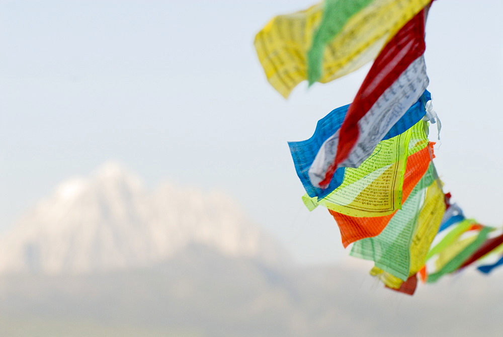 Prayer flags blowing in wind, Snow mountain, Tagong, Sichuan, China, Asia - 784-37