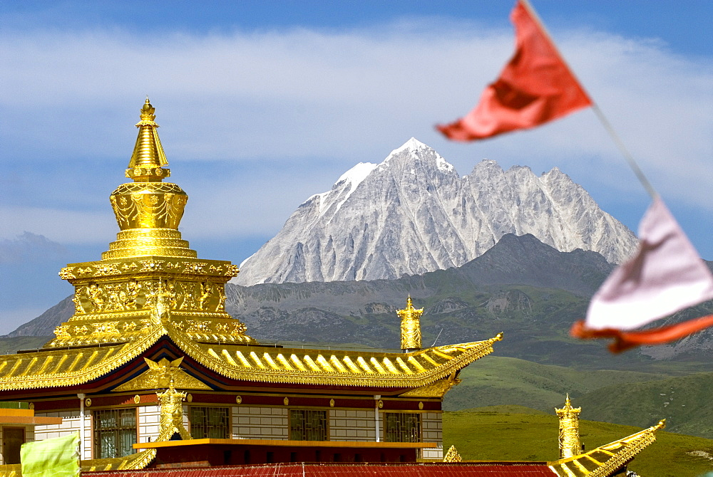 Snow mountain and Buddhist temple, Tagong Grasslands, Sichuan, China, Asia - 784-54