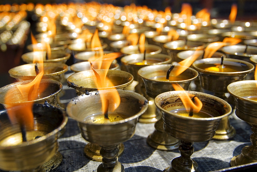 Prayer candles, Nanwu Temple, Kangding, Sichuan, China, Asia - 784-63