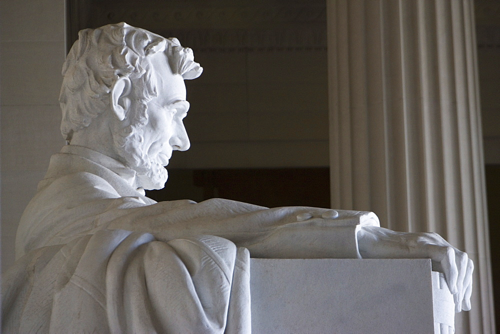Close-up of marble statue of Abraham Lincoln, Lincoln Memorial, Washington D.C., United States of America, North America