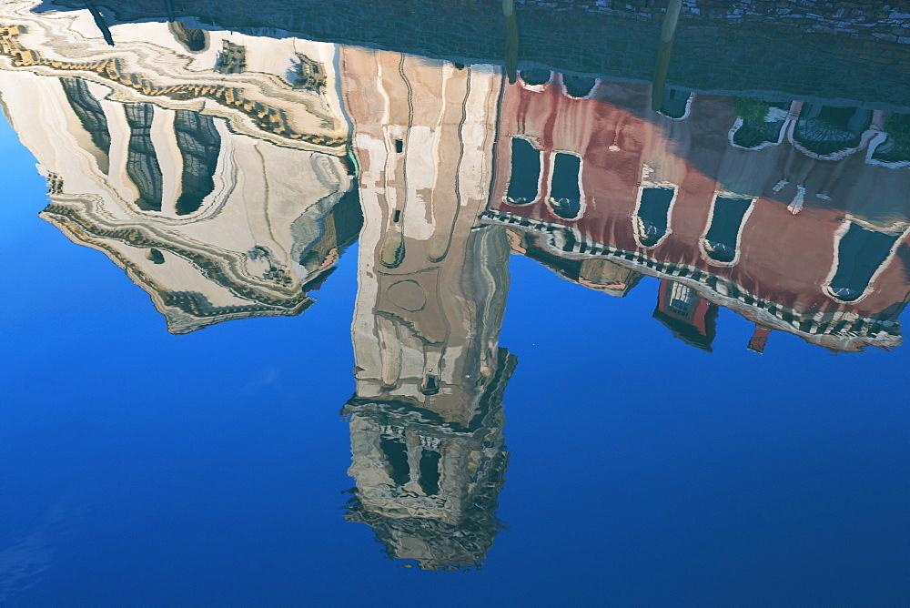Reflection of San Trovaso church in a still canal in the Dorsoduro area, Venice, UNESCO World Heritage Site, Veneto, Italy, Europe - 785-1606