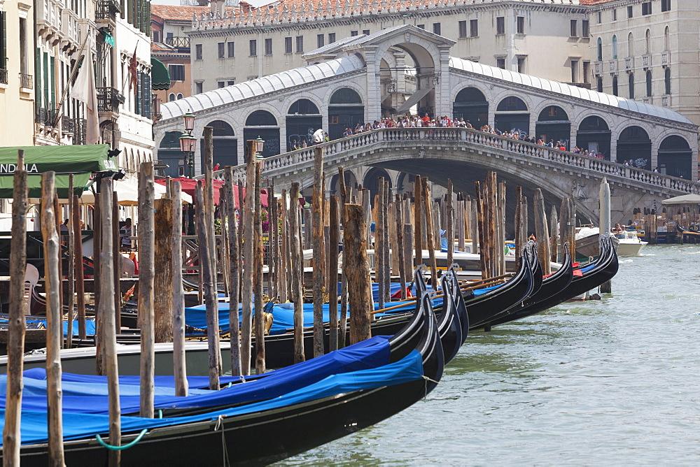 Moored gondolas and the Rialto Bridge from the Grand Canal, Venice, UNESCO World Heritage Site, Veneto, Italy, Europe