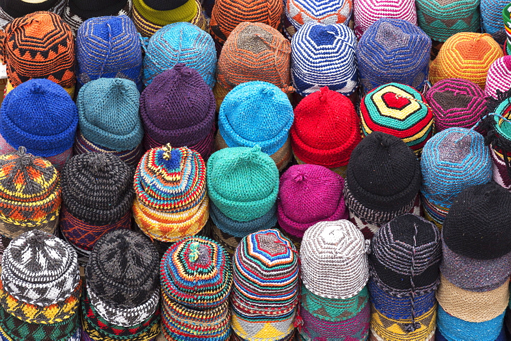 Traditional colourful woollen hats for sale in Rahba Kedima (Old Square), Marrakech, Morocco, North Africa, Africa  - 785-1665
