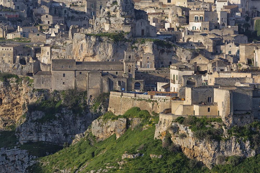 View of Chiesa di San Pietro Caveoso in the Sassi area of Matera and ravine, Basilicata, Italy, Europe
