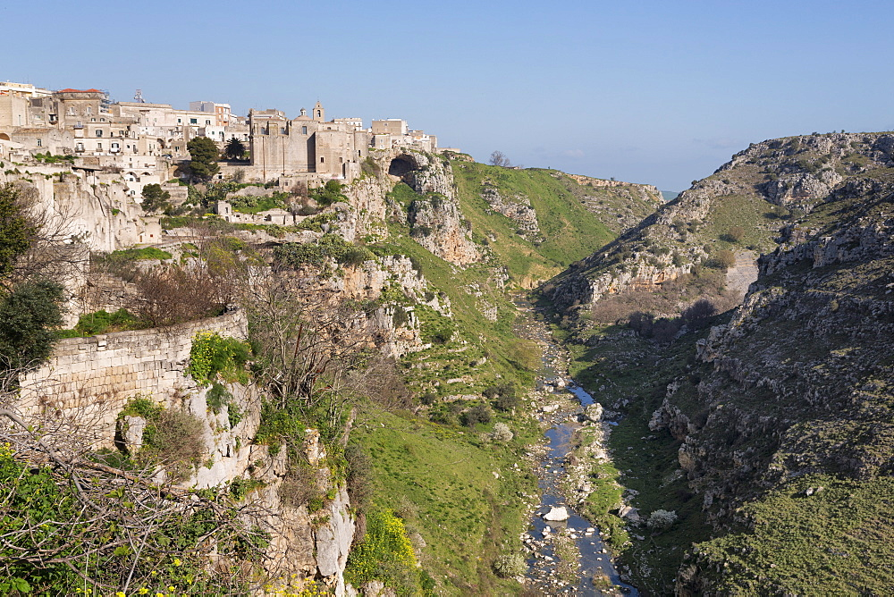 View of Sant'Agostino Convent in the Sassi area of Matera and ravine, Basilicata, Italy, Europe