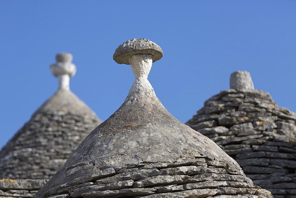 Roofs of traditional trullos (trulli) in Alberobello, UNESCO World Heritage Site, Puglia, Italy, Europe