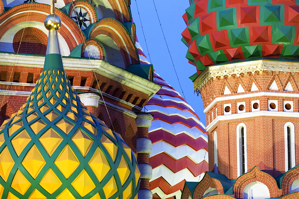 Detail of the onion domes of St. Basil's Cathedral in Red Square, UNESCO World Heritage Site, Moscow, Russia, Europe