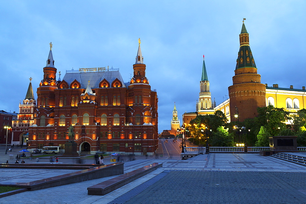 The Historical Museum on Red Square and the Kremlin at night, UNESCO World Heritage Site, Moscow, Russia, Europe