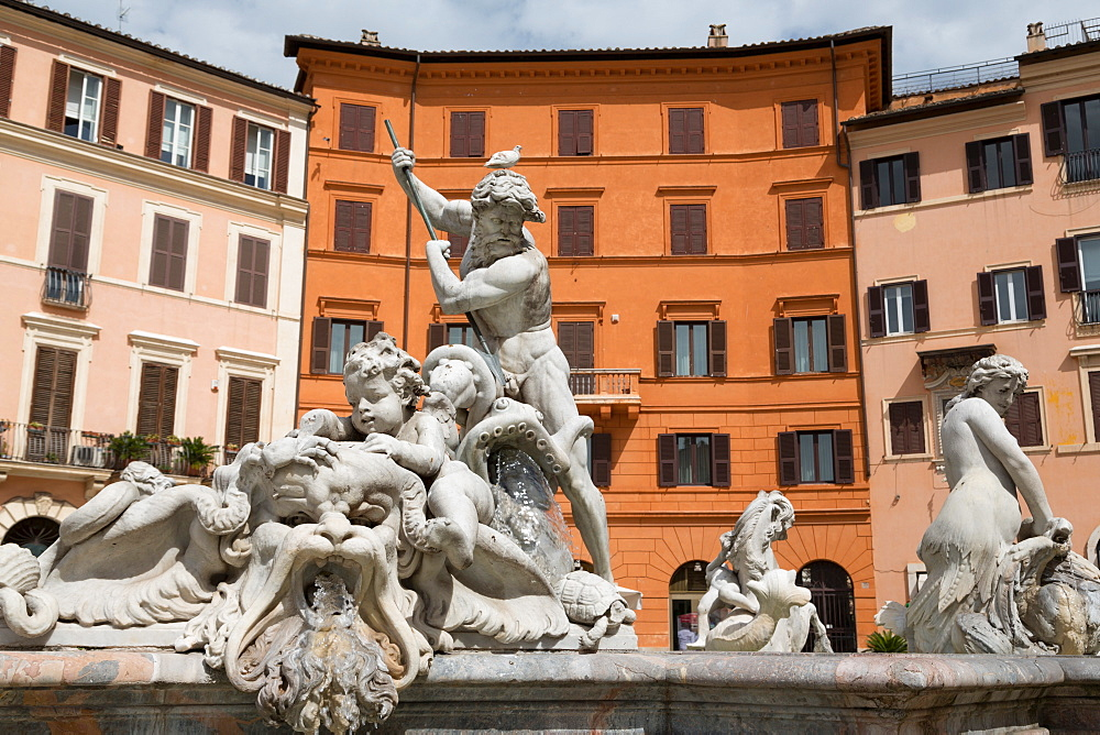 Fontana del Nettuno (Fountain of Neptune) in Piazza Navona, Rome, Lazio, Italy, Europe