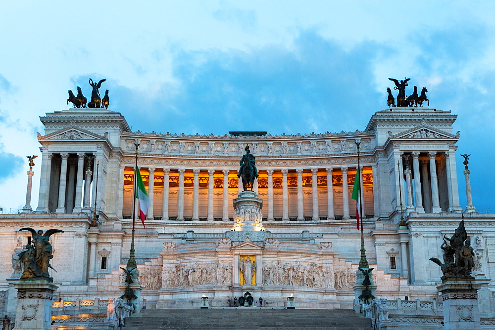 The Victor Emmanuel Monument at night, Rome, Lazio, Italy, Europe