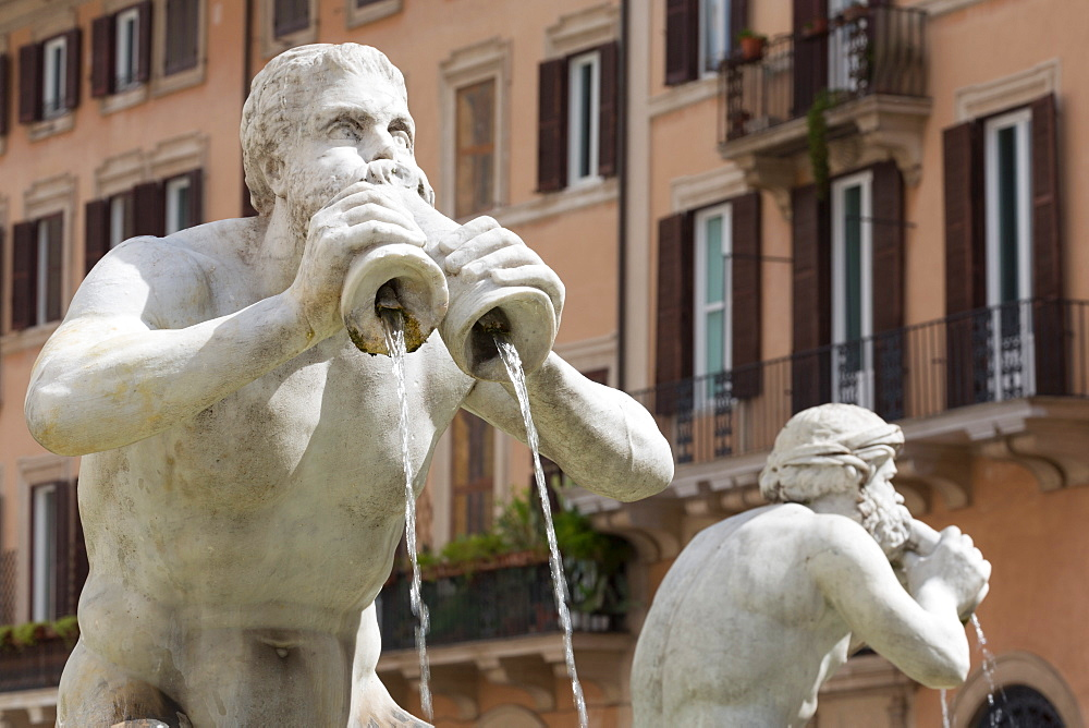 Two figures on Fontana del Moro in Piazza Navona, Rome, Lazio, Italy, Europe