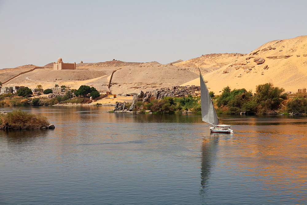 A traditional felucca sailing boat on the River Nile near Aswan, Egypt, North Africa, Africa