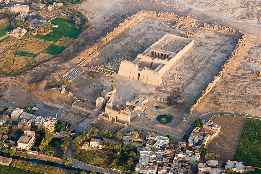 Medinet Habu Temple near Luxor from a hot air balloon, Thebes, UNESCO World Heritage Site, Egypt, North Africa, Africa