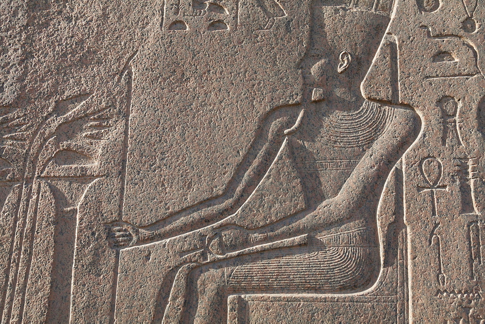 Relief carving in the ancient Egyptian Philae Temple, UNESCO World Heritage Site, Aswan, Egypt, North Africa, Africa