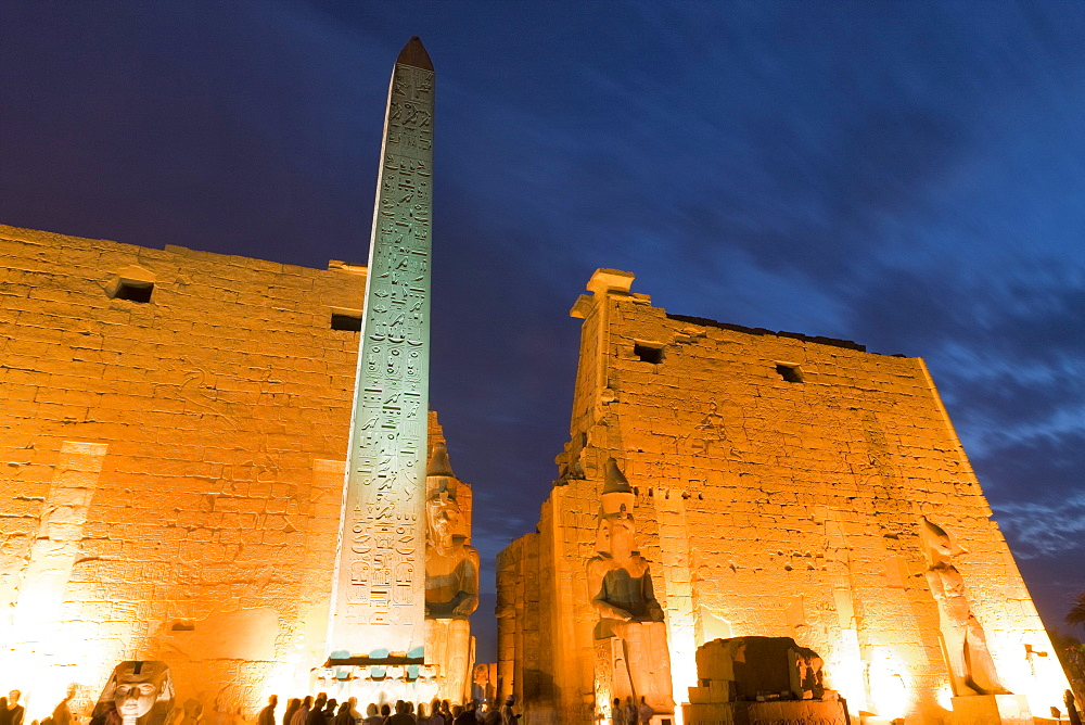 Obelisk in the ancient Egyptian Luxor Temple at night, Luxor, Thebes, UNESCO World Heritage Site, Egypt, North Africa, Africa