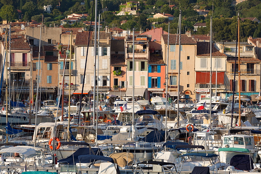 Boats moored in the harbour of the historic town of Cassis, Cote d'Azur, Provence, France, Europe