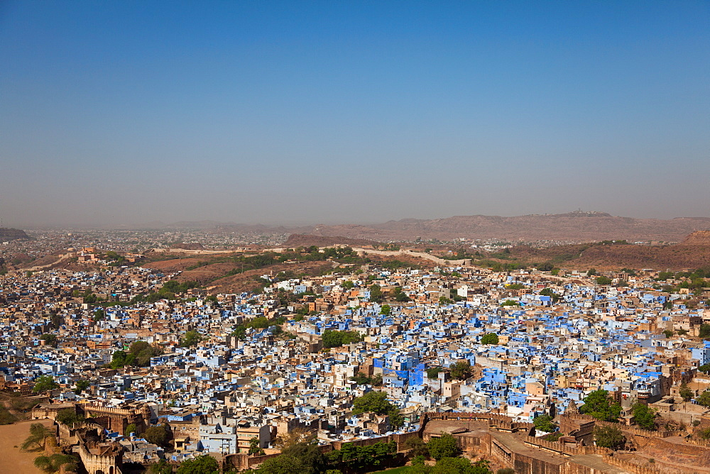 The traditional blue-washed houses of Jodhpur, Rajasthan, India, Asia