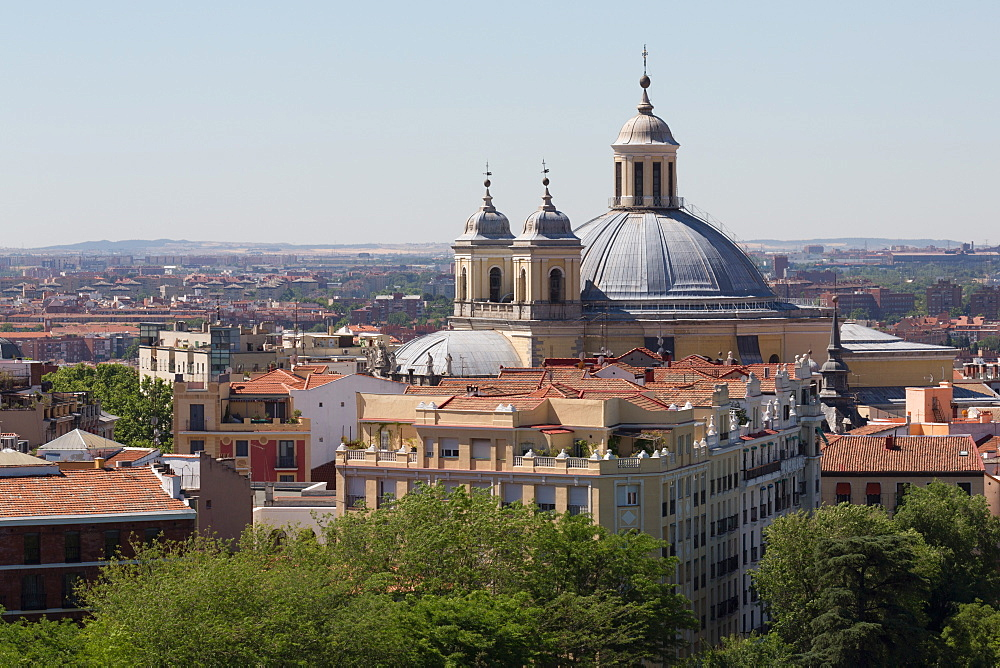 Basilica de San Francisco el Grande seen from the rooftop of Catedral de la Almudena in Madrid, Spain, Europe