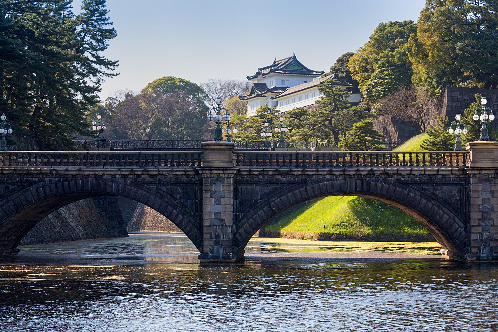Bridge and the historic Imperial Palace, Tokyo, Japan, Asia