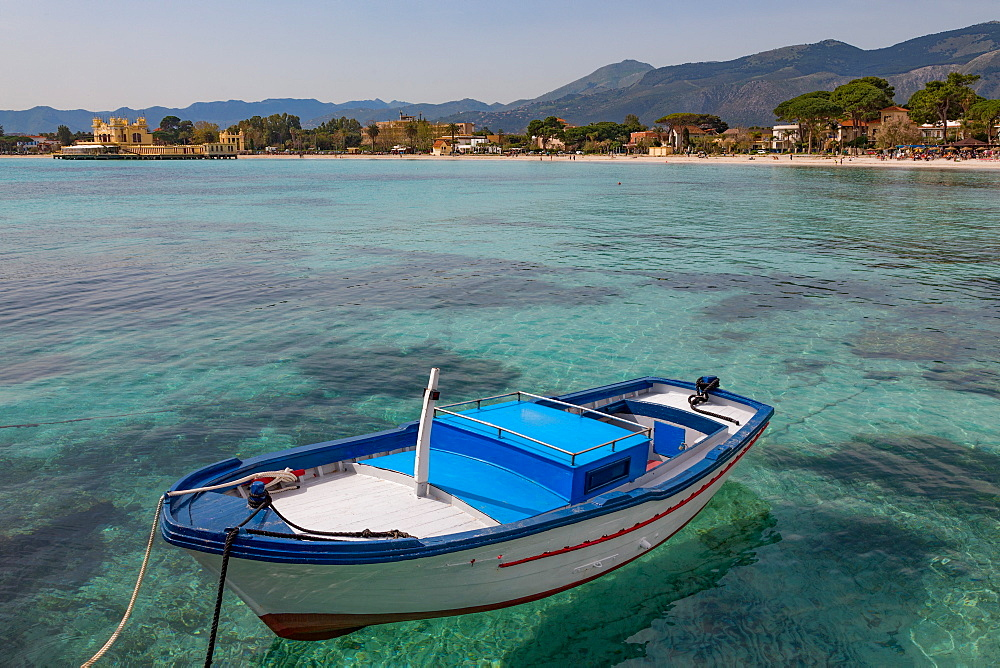 Traditional colourful fishing boat moored at the seaside resort of Mondello, Sicily, Italy, Mediterranean, Europe