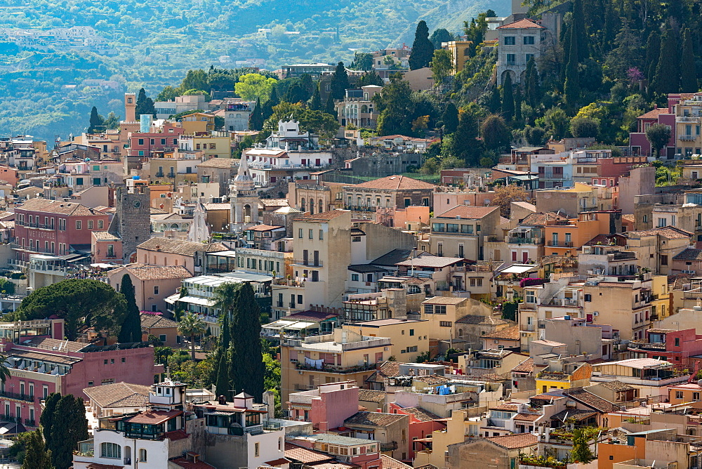 View of the hill town of Taormina, Sicily, Italy, Mediterranean, Europe
