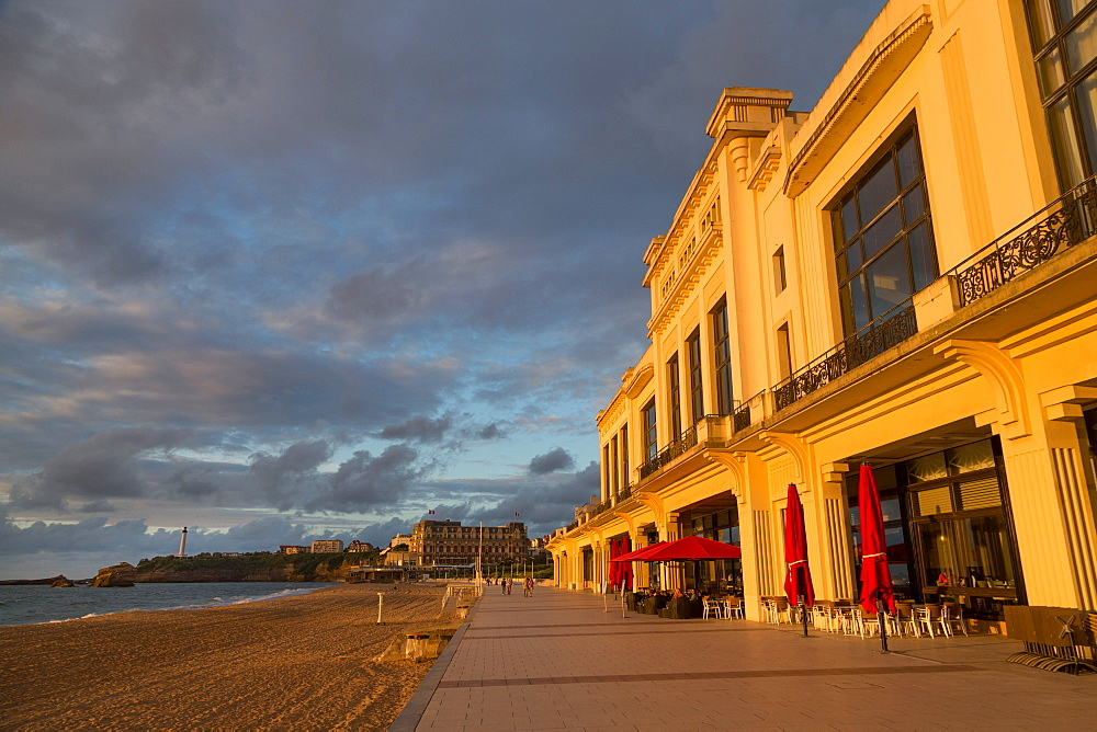 The beach, Casino and promenade in Biarritz, Pyrenees Atlantiques, Aquitaine, France, Europe