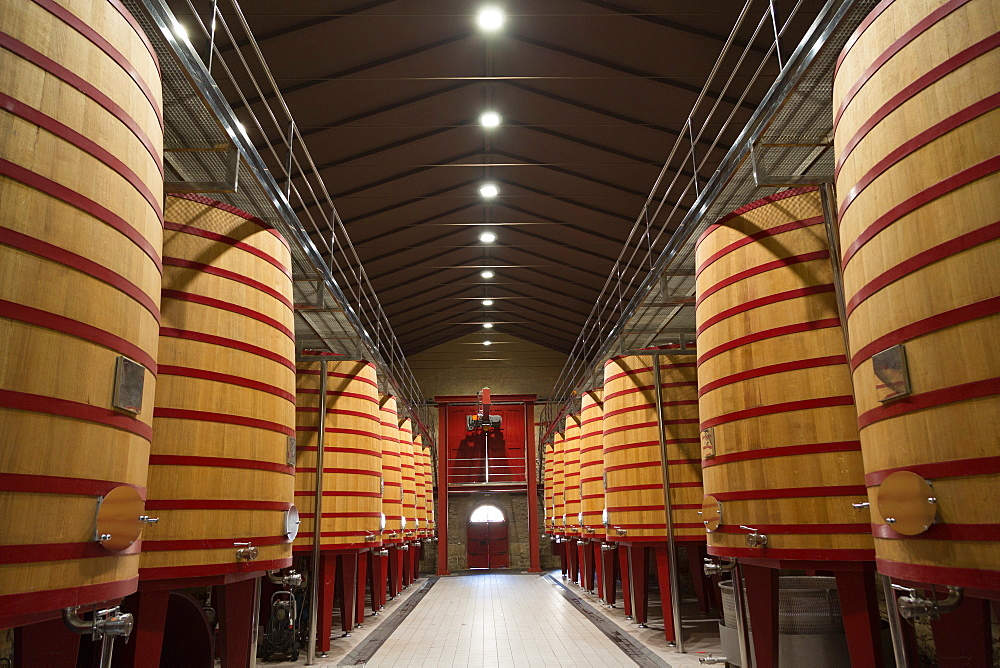 Wine vats in a bodega in Rioja, Spain, Europe