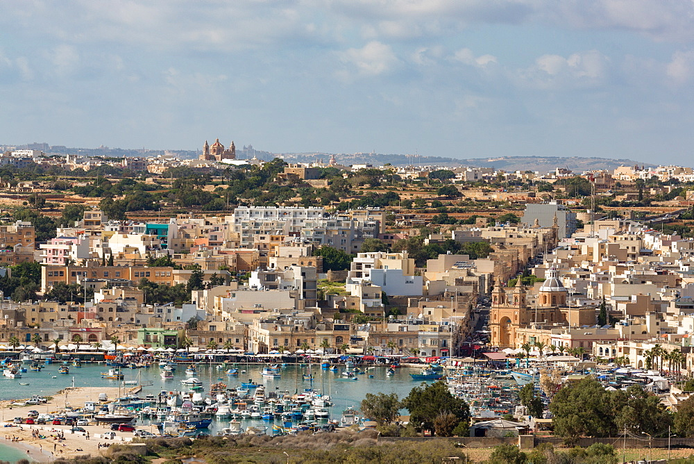 The traditional fishing harbour at Marsaxlokk, Malta, Mediterranean, Europe
