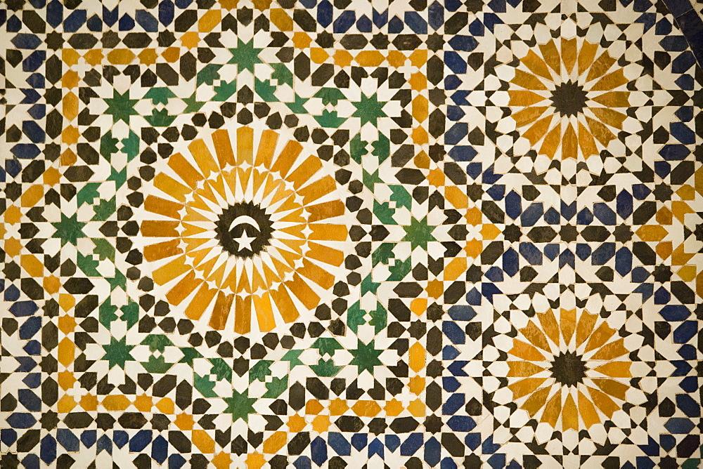 Detail of Zellij tilework, Musee de Marrakech, Marrakech, Morocco, North Africa, Africa - 785-220