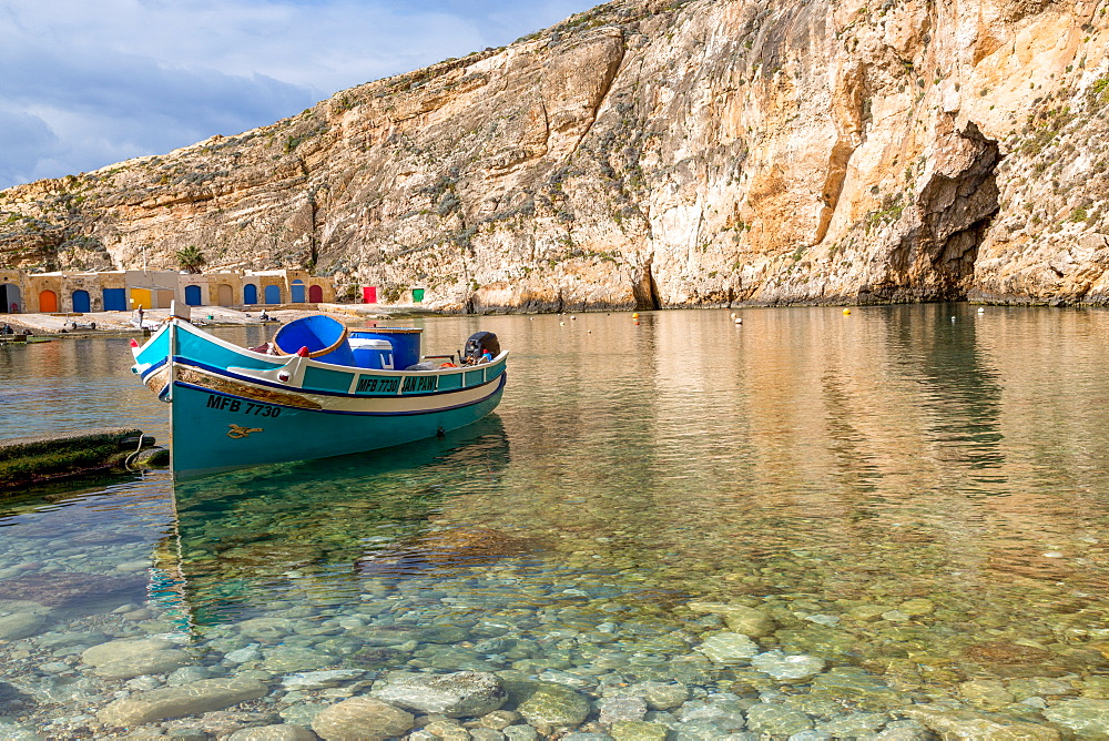 Traditional boat in the harbour at Dwejra Inland Sea in Gozo, Malta, Mediterranean, Europe