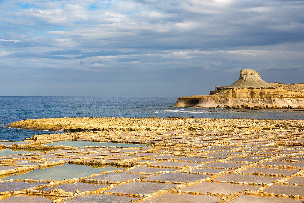 Traditional salt pans cut into the rock on the coast of Gozo, Malta, Mediterranean, Europe