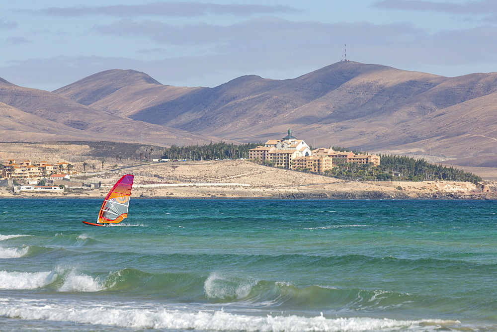 Wind-surfer off Playa de La Barca, Costa Calma, on the volcanic island of Fuerteventura, Canary Islands, Spain, Atlantic, Europe - 785-2254