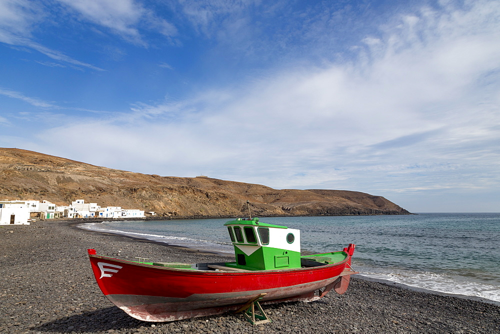 Traditional fishing boat at Playa Pozo Negro on the volcanic island of Fuerteventura, Canary Islands, Spain, Atlantic, Europe - 785-2265