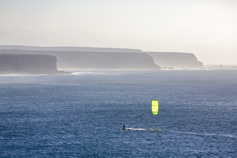 Windsurfer off El Cotillo beach on the volcanic island of Fuerteventura, Canary Islands, Spain, Atlantic, Europe - 785-2291