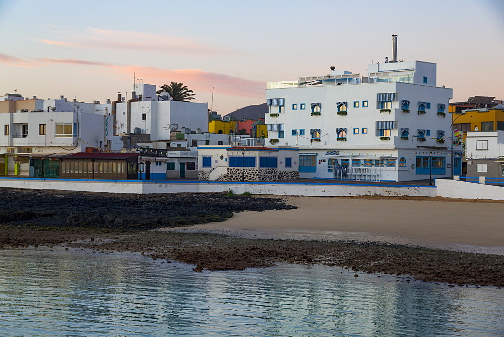 Dawn light on the waterfront of old town Corralejo on the island of Fuerteventura, Canary Islands, Spain, Atlantic, Europe - 785-2297