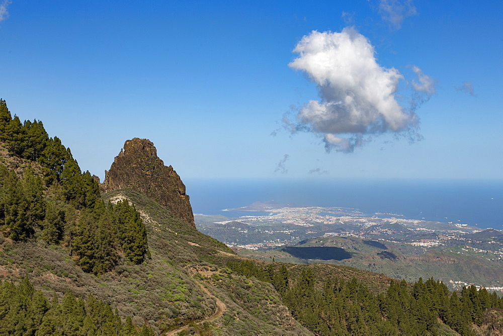 High view of Las Palmas de Canaria from near Pico de las Nieves, Gran Canaria, Canary Islands, Spain, Atlantic, Europe - 785-2320