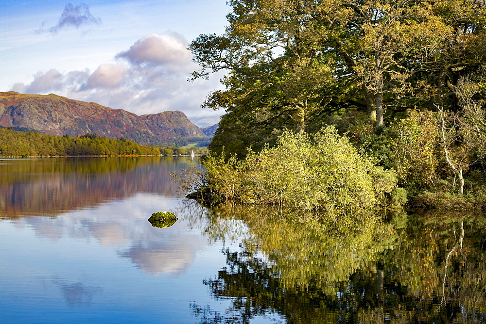 Shoreline, mountains and sky with a perfect reflection in the still waters of Coniston Water, Lake District National Park, UNESCO World Heritage Site, Cumbria, England, United Kingdom, Europe - 785-2323