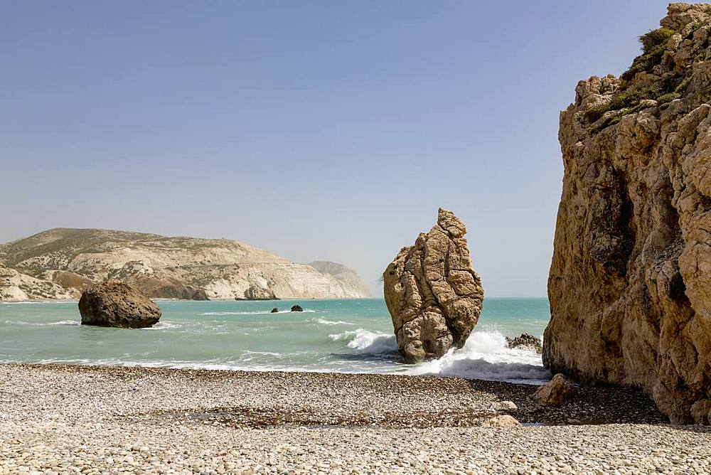 Aphrodite's Rock (Petra tou Romiou) sea stack in southern Cyprus between Paphos and Limassol, Cyprus, Mediterranean, Europe - 785-2340
